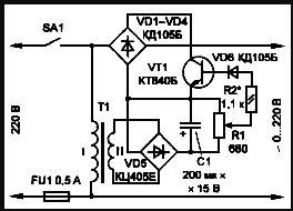 Простейшая схема стабилизатора напряжения 220 вольт