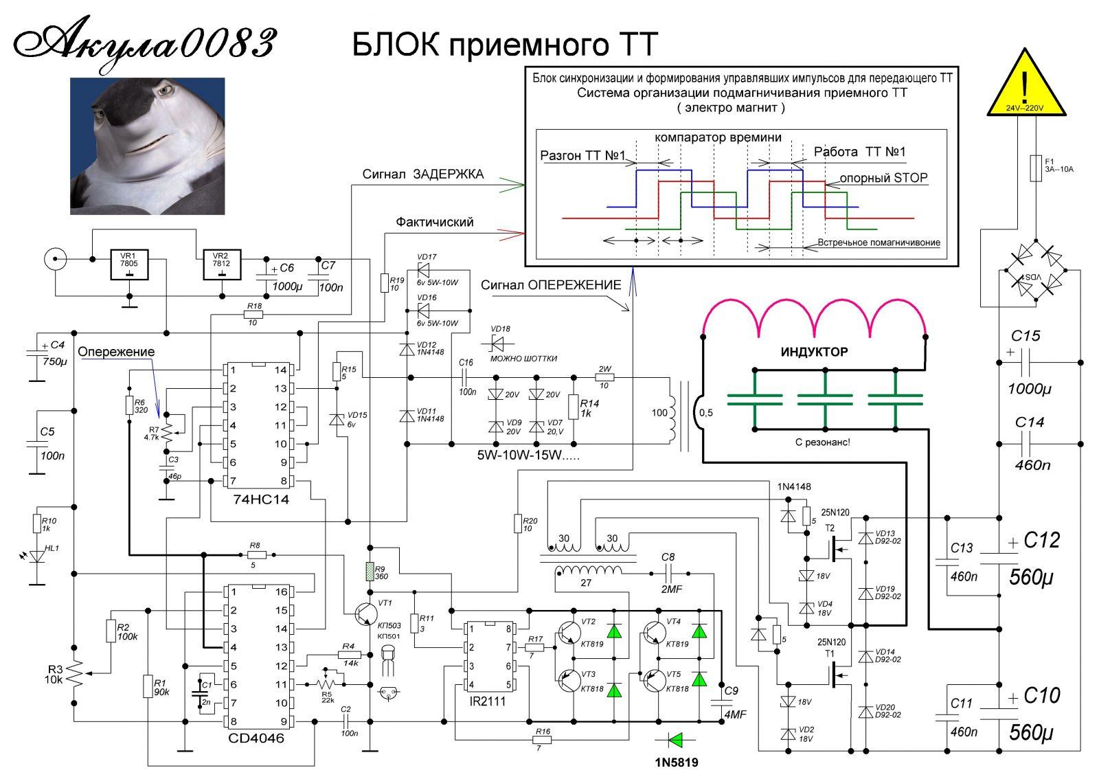 Схема для регулировка частота генератора