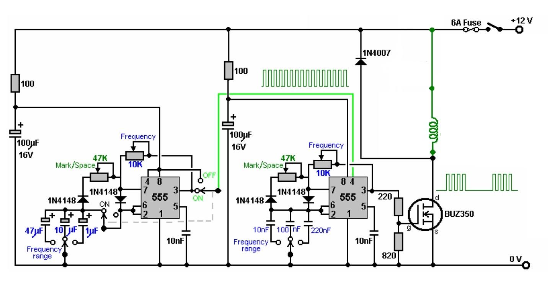 Схема генератора прямоугольных импульсов ne555: http://eventcouture.ru/sxema-generatora-pryamougolnyx-impulsov-ne555